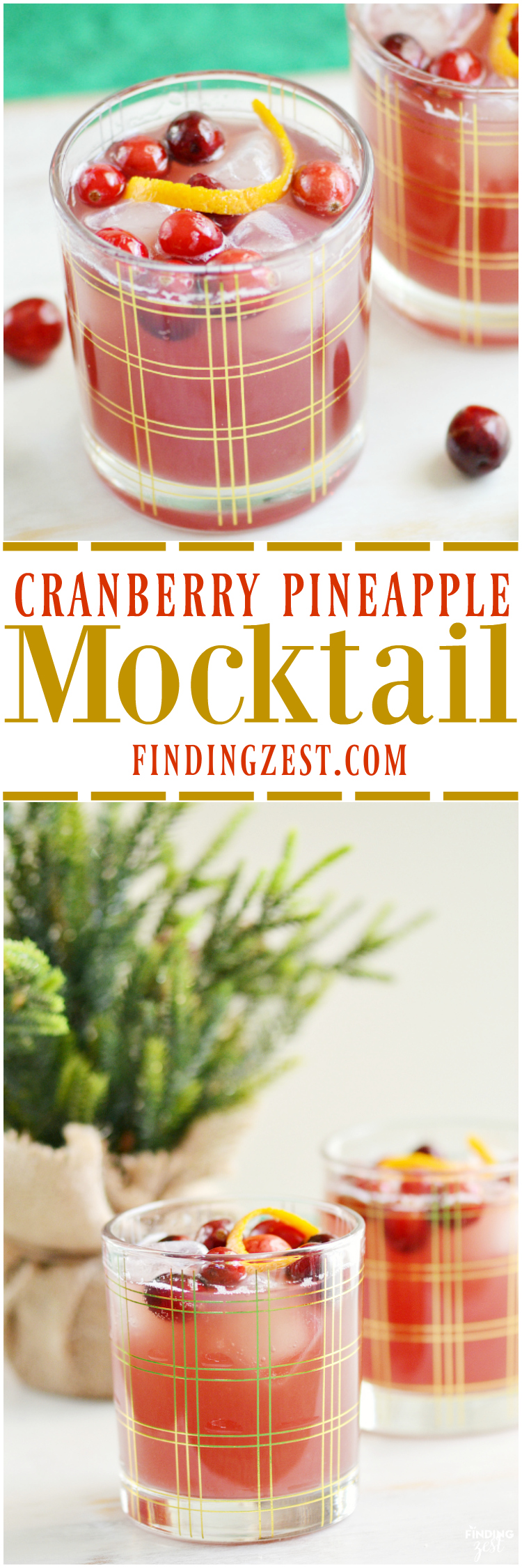 This Cranberry Pineapple Mocktail recipe is the perfect non-alcoholic holiday drink. Both kids and adults will love it!