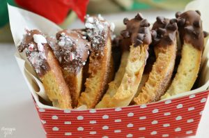 Chocolate Dipped Cinnamon Crisps: These delicious crisps are made from English muffin strips, baked with cinnamon and sugar and dipped in chocolate.