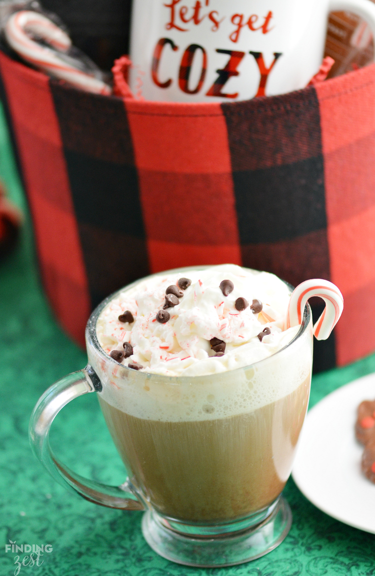 Try this easy Merry Peppermint Mocha coffee drink you can make with just a few ingredients at home with Caribou Coffee.