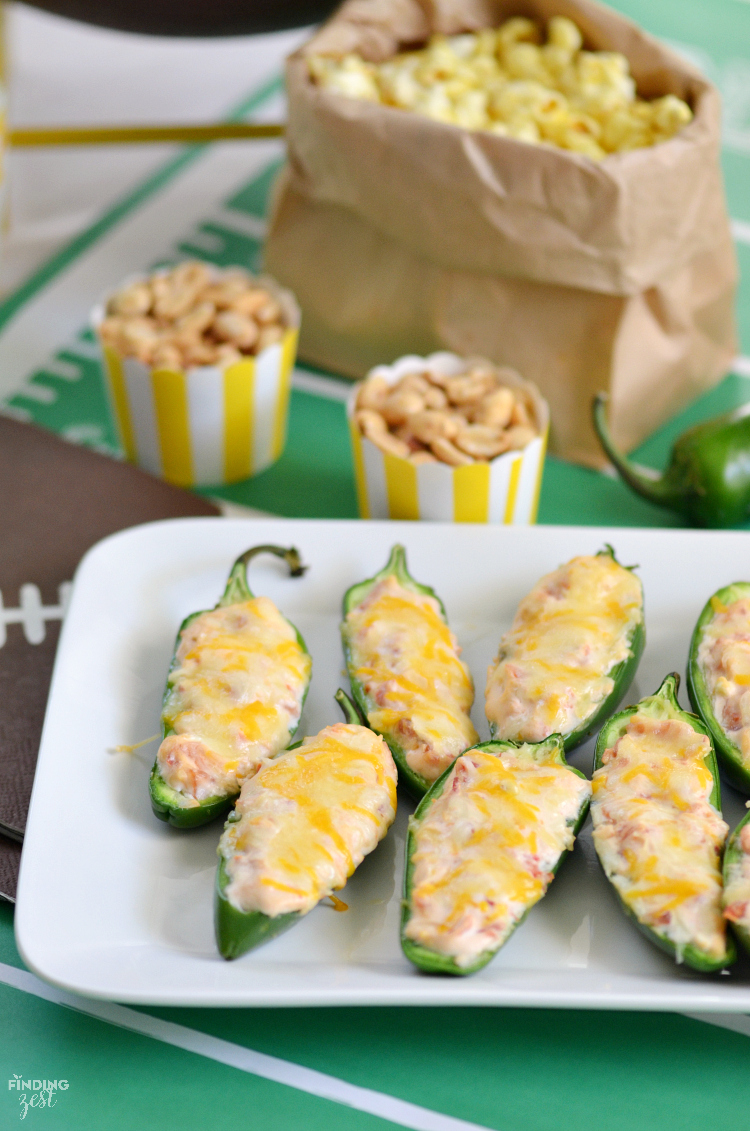 These easy stuffed jalapeno poppers are the perfect spicy game day snack with only five ingredients!