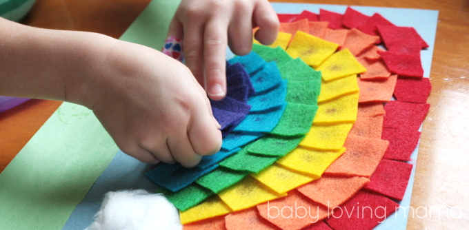 Felt Rainbow Art: Celebrate this fun holiday with this St. Patrick Day Activities Kids list!