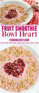 Learn how to make a Fruit Smoothie Bowl Heart! Perfect for Valentine's Day, Mother's Day or just because. Give this kid-friendly breakfast a try!