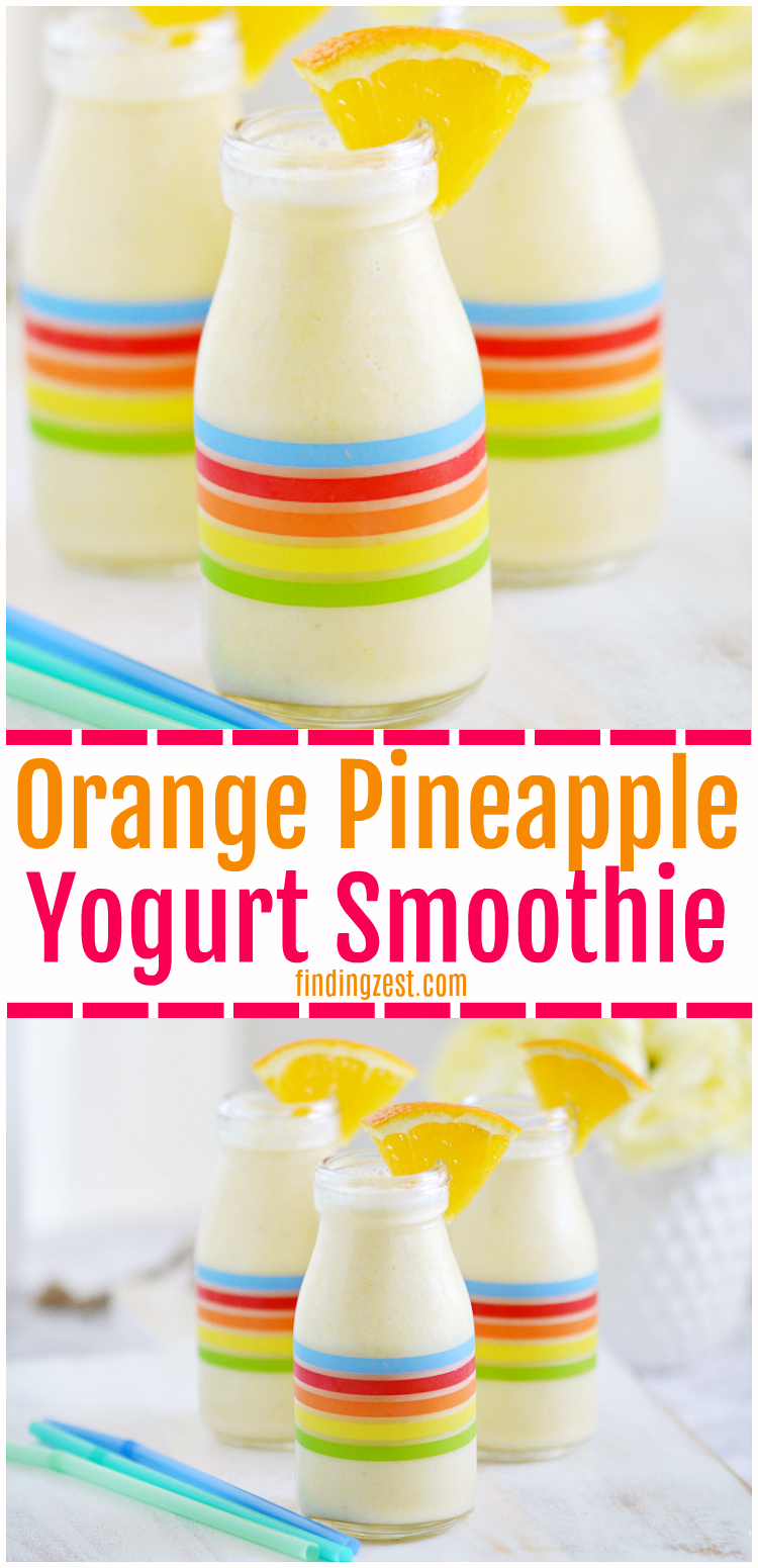 This refreshing orange pineapple yogurt smoothie is the perfect start to your day! Smoothie recipes for kids are an easy way to get fresh fruits and vegetables into their diet. Only 5 ingredients are needed for this tropical smoothie!