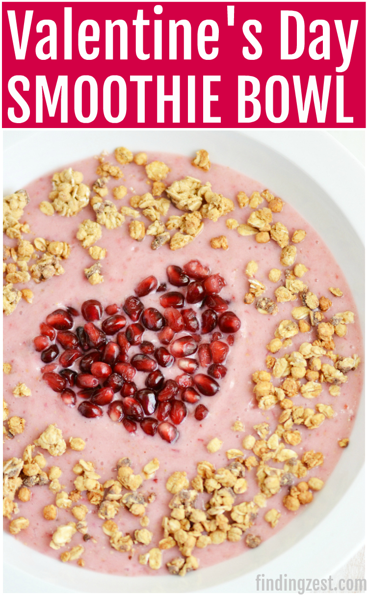 Learn how to make a Fruit Smoothie Bowl Heart! Perfect for Valentine;s Day, Mother's Day or just because. Give this kid-friendly heart shaped breakfast a try!