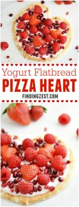 Make this healthy Yogurt Flatbread Pizza Heart to show someone you care. It is a sweet breakfast or snack any time of year, especially for Valentine's Day!