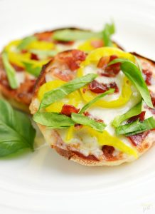 This easy Banana Pepper and Bacon English Muffin Pizza is a great way to enjoy pizza any time! Share your favorite English Muffin Pizza recipe and enter the Bays Pizza Genius Sweepstakes!