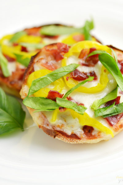 Banana Pepper and Bacon English Muffin Pizza