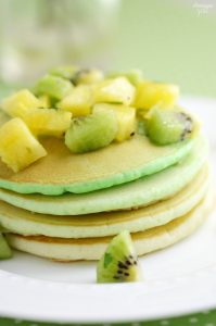 Serve these Green Ombre St. Patrick's Day Pancakes for a delicious breakfast or brunch! Topped fresh kiwi and pineapple fruit salsa, it is sure to delight.