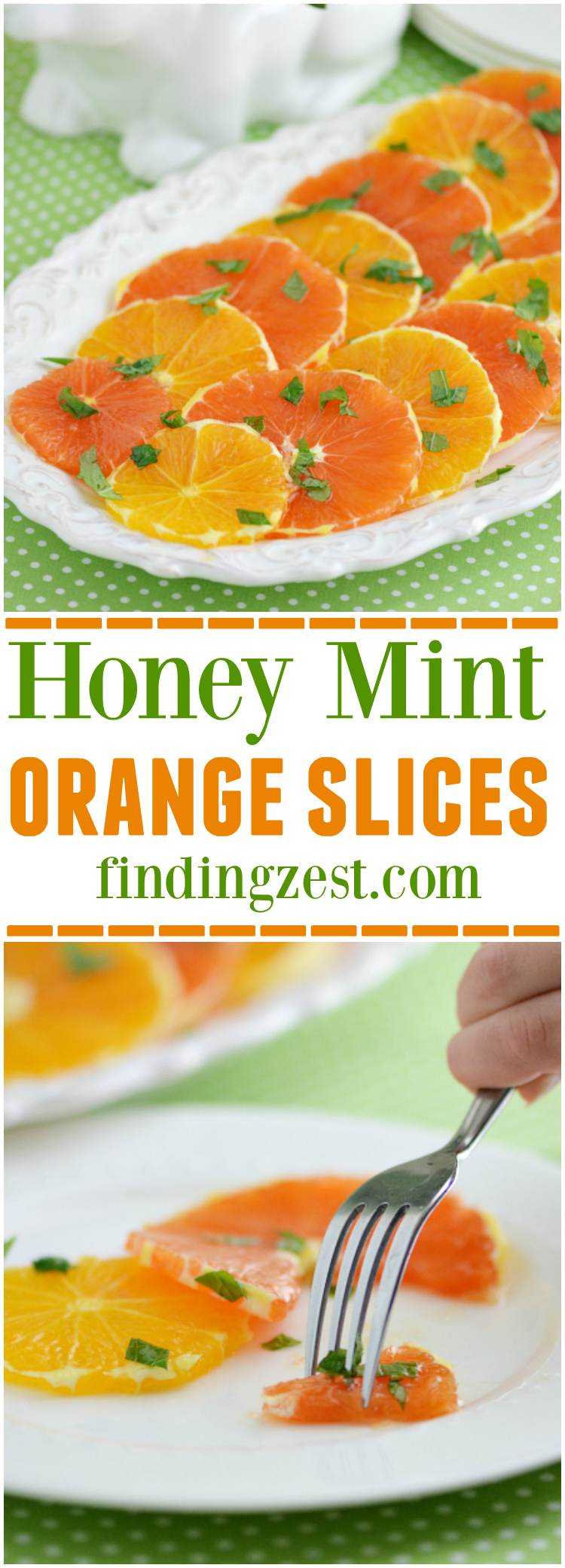 Enjoy the refreshing flavors of traditional navel and Cara Cara navel orange slices topped with fresh mint and honey! Try this fruit salad for breakfast or dessert. Would be great for Easter, Mother's Day or Christmas brunch.