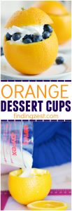Get creative with fruit and try Orange Dessert Cups! Filled with pudding, these hollowed out orange cups with tops are a great way to make dessert more fun, especially for kids!