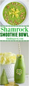 This Shamrock Smoothie Bowl is the perfect green food option for St. Patrick's Day! Kids will love this delicious green smoothie in a bowl or a glass!