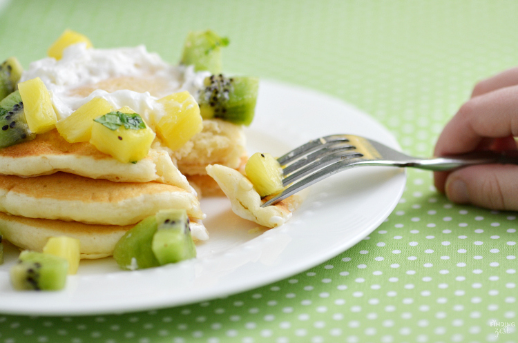 Serve these Green Ombre St. Patrick's Day Pancakes for a delicious breakfast or brunch! Topped with fresh kiwi and pineapple fruit salsa, it is sure to delight.