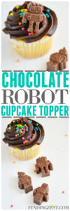Making your own chocolate robot cupcake topper is super fun and easy! Perfect for just because a robot birthday party celebration! They also work great for robot party favors. Yum!