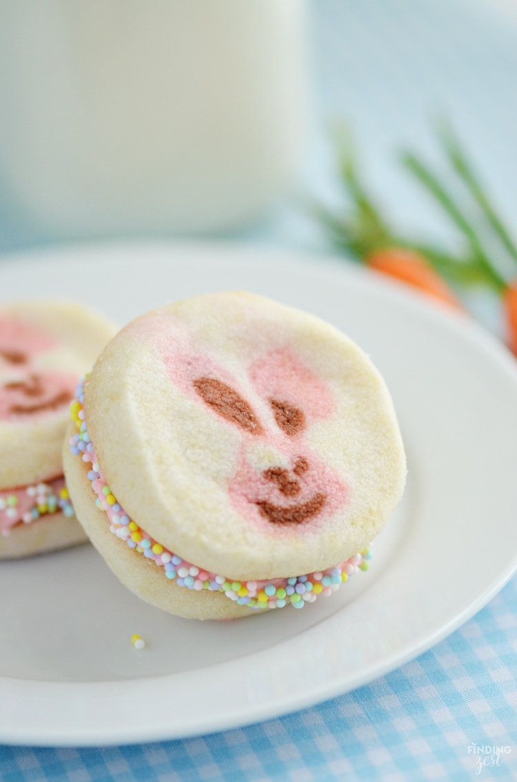 These Easter Bunny Cookie Sandwiches are so easy to make and feature a delicious cream cheese filling. Make this Easter treat in under 30 minutes!