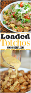 This Loaded Totchoes recipe will win the crowd on game day! Perfect for March Madness, these potato rounds are covered in queso dip, refried beans and fresh guacamole!