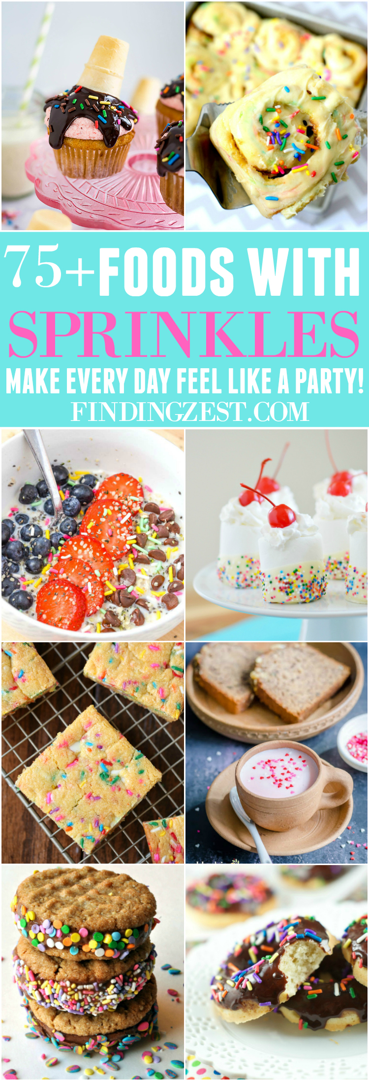 Get over 75 great foods with sprinkles including fun party ideas, easy recipes, homemade, gluten free and more! Make every day feel like a party with these cakes, cupcakes, cookies, drinks, breakfast foods, snacks, frozen treats and more!