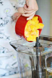 Only three ingredients and a blender are needed to make this homemade Mango Pineapple Sorbet! Add toasted coconut & a cherry for a tropical dessert! Kids will love this healthier alternative to ice cream.
