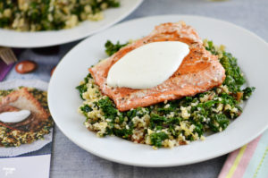 Seared Salmon Lemon Labneh and Freekeh Kale Dates: Blue Apron helps you cook incredible meals from scratch with perfectly portioned ingredients and step-by-step recipes, allowing you more free time! Come see my experience using this delivery service!