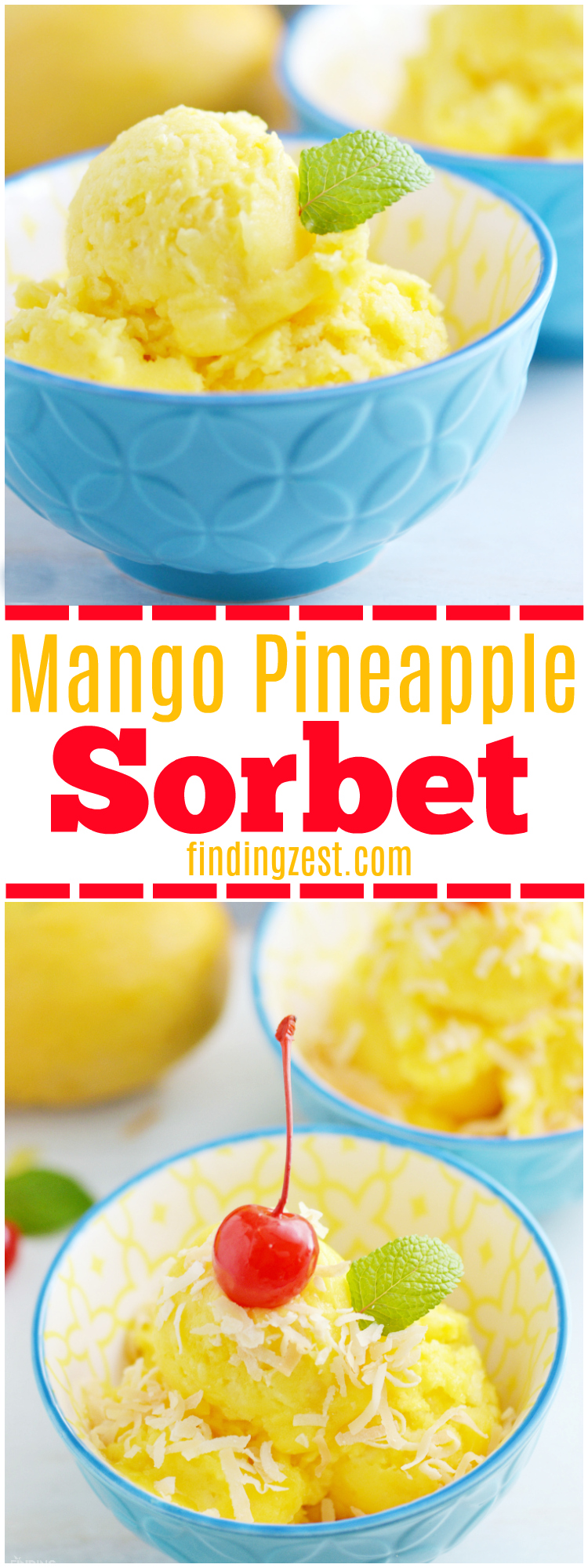 Only three ingredients and a blender are needed to make this homemade Mango Pineapple Sorbet! Add toasted coconut and a cherry for a tropical dessert! Kids will love this healthier alternative to ice cream.