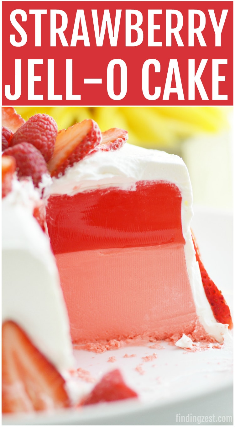 This Strawberry Jello Cake is a mock cake made out of JELL-O! This two layer Jell-O cake is easy and only requires 3 ingredients. No special mold needed! This is a great option for anyone with allergies or those who don't like traditional cake. Serve it for your next celebration including birthdays, Mother's Day, Easter or 4th of July!