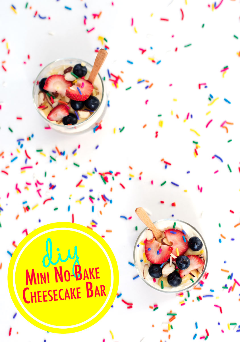 Easy Mini No Bake Cheesecake Party Bar: Get over 75 great foods with sprinkles including fun party ideas, easy recipes, homemade, gluten free and more! Make every day feel like a party with these cakes, cupcakes, cookies, drinks, breakfast foods, snacks, frozen treats and more!