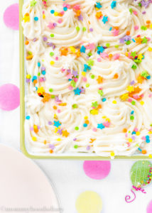 Eggless Confetti Cake: Get over 75 great foods with sprinkles including fun party ideas, easy recipes, homemade, gluten free and more! Make every day feel like a party with these cakes, cupcakes, cookies, drinks, breakfast foods, snacks, frozen treats and more!