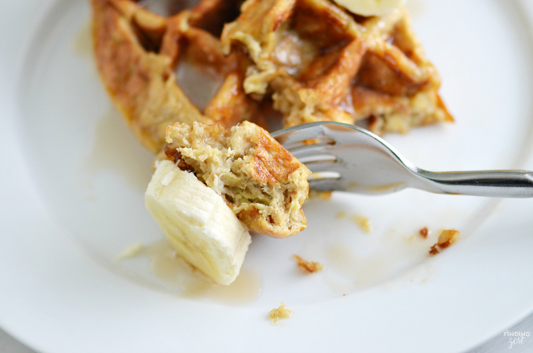 These gluten free banana waffles are loaded with overripe bananas, eggs, oats, and peanut butter. Added sugar optional. Perfect breakfast for those with gluten allergies!