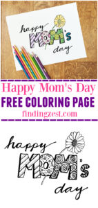 Celebrate mom on Mother's Day with this Happy Mom's Day Coloring Page. Download this free printable for kids or adult coloring!
