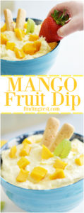 This mango fruit dip is great served with fresh fruit, cookies or graham crackers for a snack, appetizer or brunch. Only five ingredients and 10 minutes are needed to make this drool worthy dip. Also try this kid friendly dip for dessert parfaits!