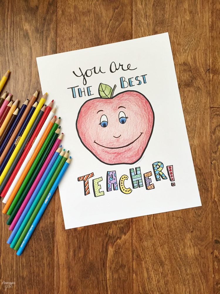 "Let your child color this apple ""You are the Best"" teacher appreciation coloring page for their special teacher! This free printable is a thoughtful gift!"