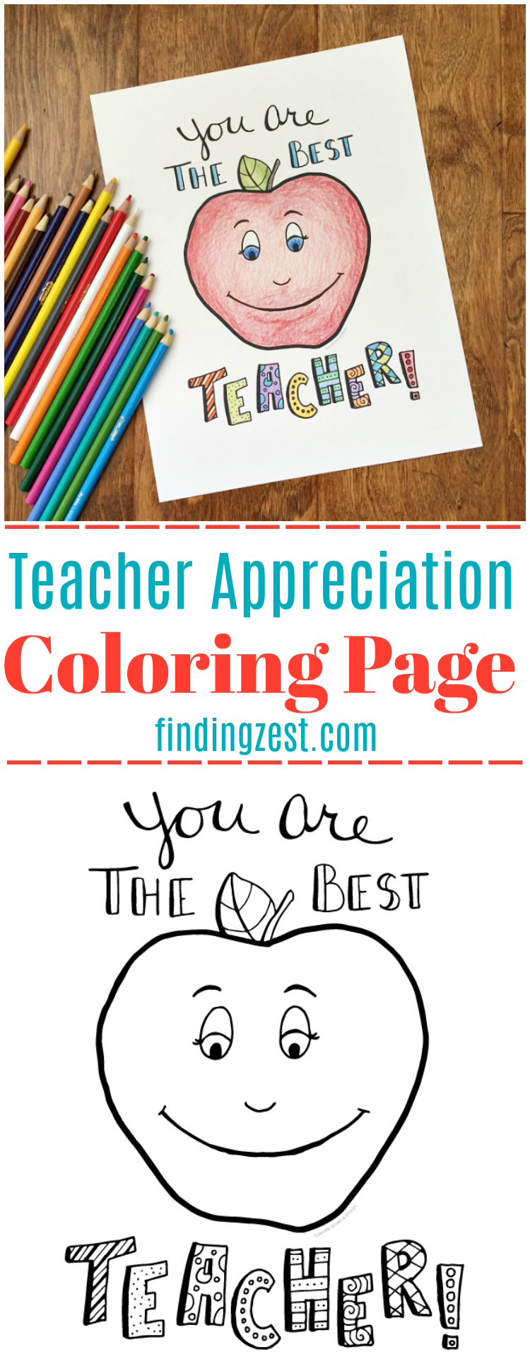 - Teacher Appreciation Coloring Page Free Printable - Finding Zest