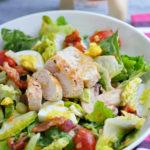 Warm Chicken Bacon Salad with Mustard Dressing