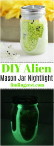 Make this DIY Alien Nightlight with glow in the dark paint! This mason jar nightlight can help your child fall asleep at night while PureCare pillows designed especially for kids can help them enjoy a more restful sleep!