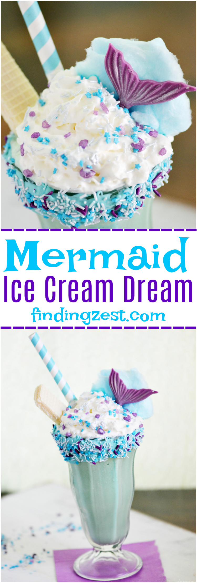 This Mermaid Ice Cream Dream Shake is the perfect dessert for everyday or a mermaid birthday party! Kids will love this fun milkshake!
