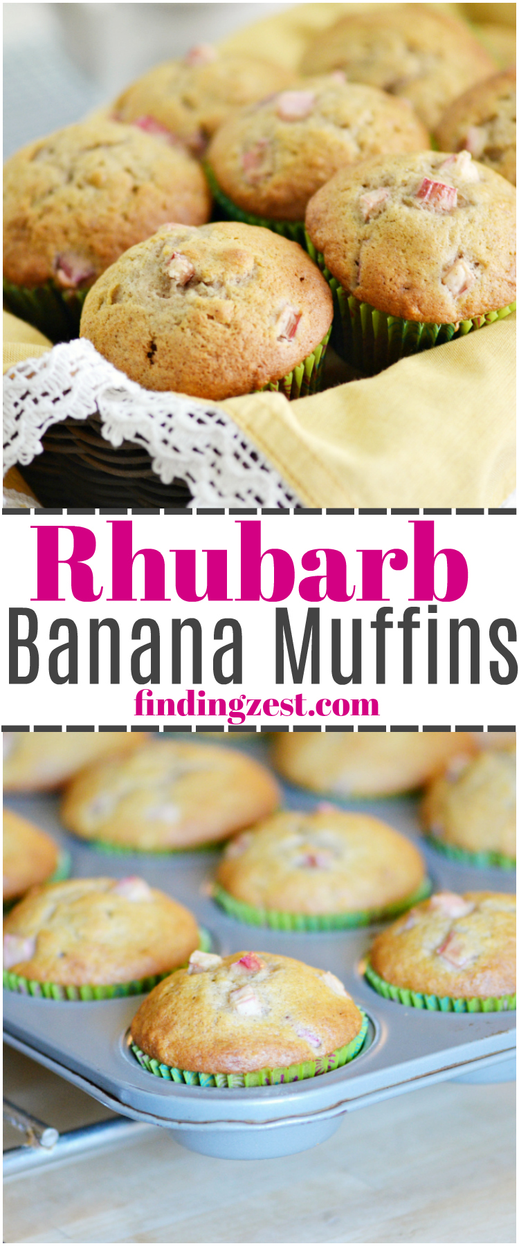 These homemade Rhubarb Banana Muffins offer the tartness of rhubarb and sweetness of banana in every delicious bite! Enjoy rhubarb for breakfast with this fresh rhubarb muffin!
