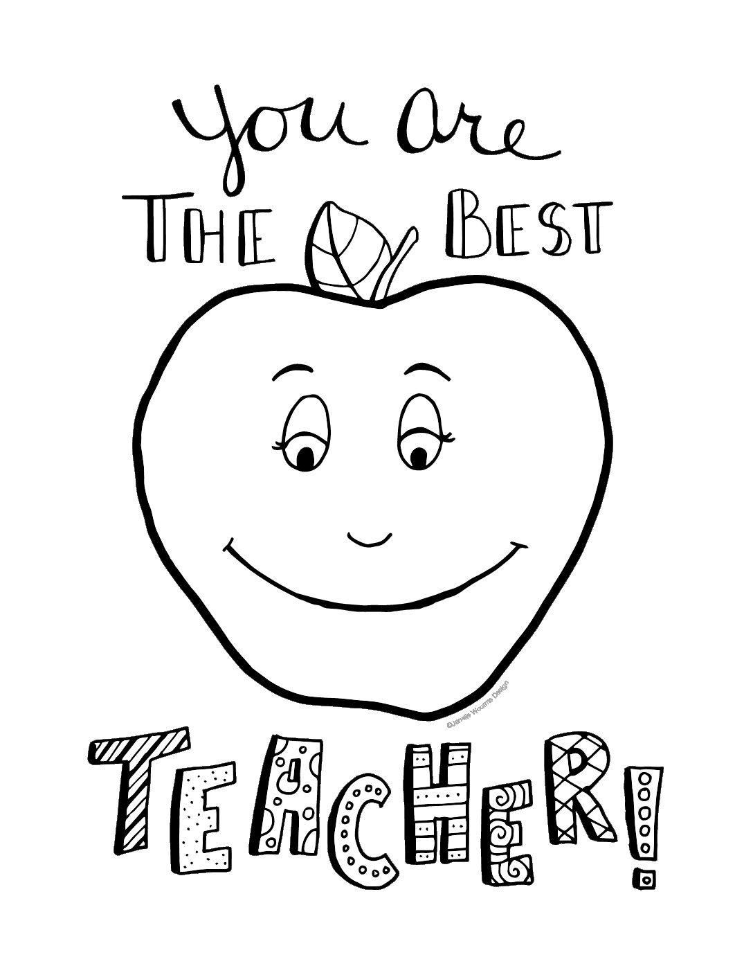 - The Best Teacher Teacher Appreciation Coloring Page - Finding Zest