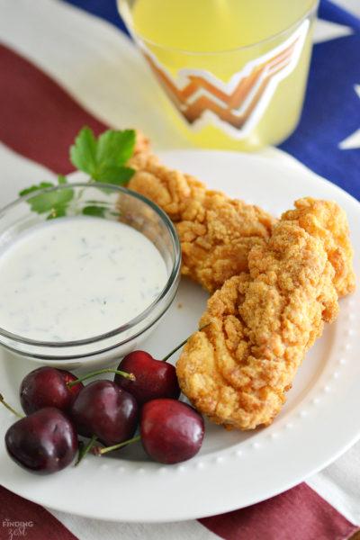 Homemade Buttermilk Ranch Dressing Recipe with Crispy Chicken Strips