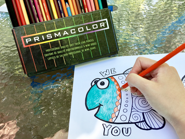 """Show Dad how much he is loved with this """"We Love You Dad"""" Father's Day coloring page free printable. Download this happy fish coloring page today!"""