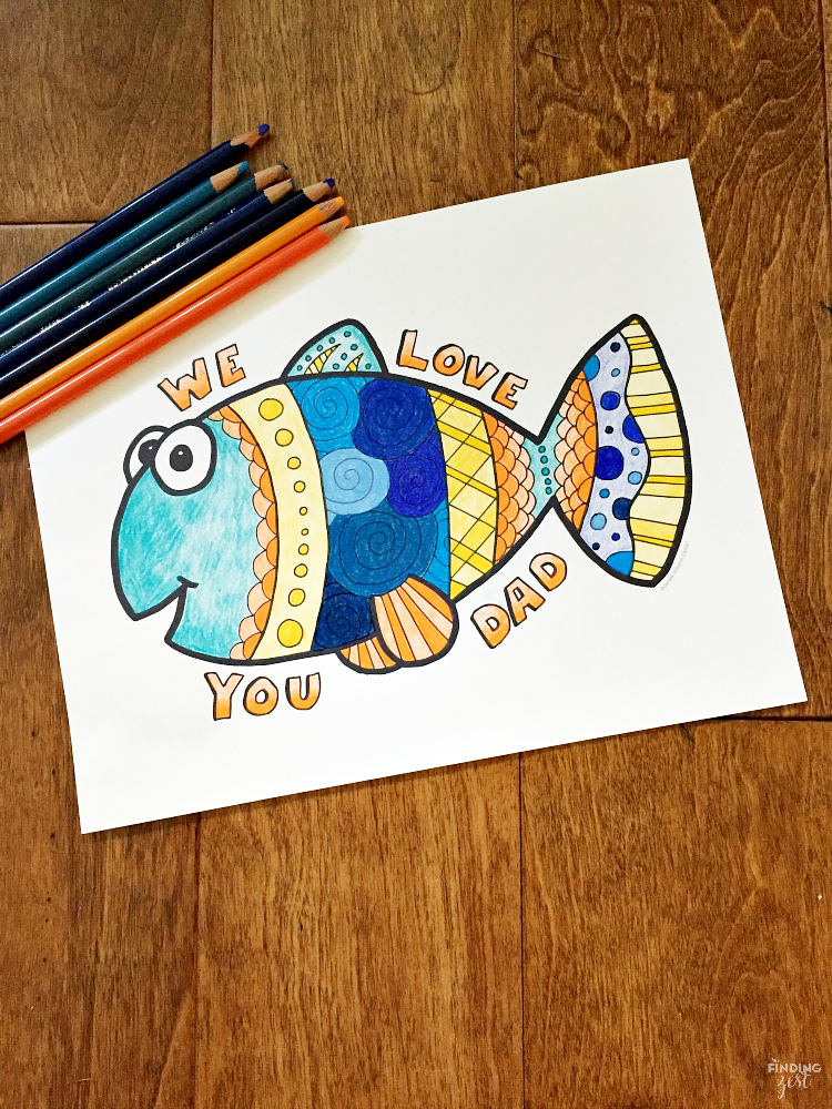 "Show Dad how much he is loved with this ""We Love You Dad"" Father's Day coloring page free printable. Download this happy fish coloring page today!"