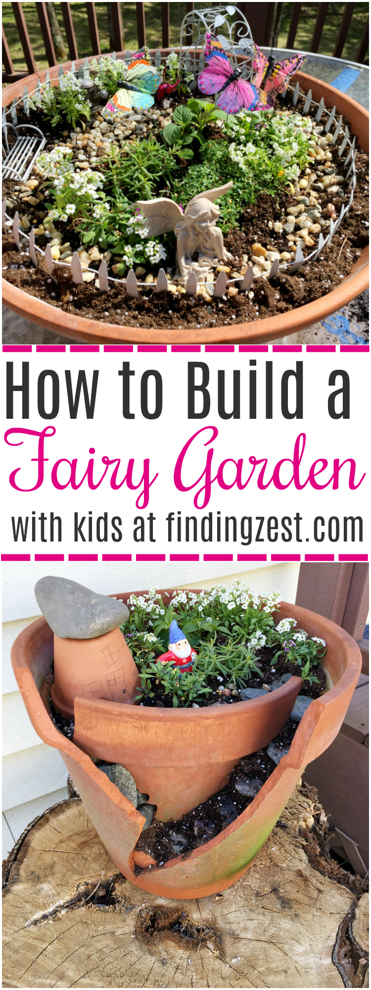 Learn how to build a fairy garden with kids in clay pots. This kids activity is a great opportunity to teach about plants while having fun! Learn how to make both styles including a fairy garden scene with butterflies and a gnome house with broken pot rock steps.