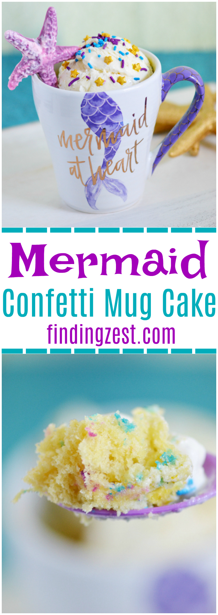 This mermaid confetti mug cake makes it easy to have a single serving of delicious cake anytime with just a few ingredients and a microwave! Topped with vanilla ice cream, chocolate starfish and sprinkles, this mermaid mug cake is perfect for mermaid fans any day or as special birthday treat!