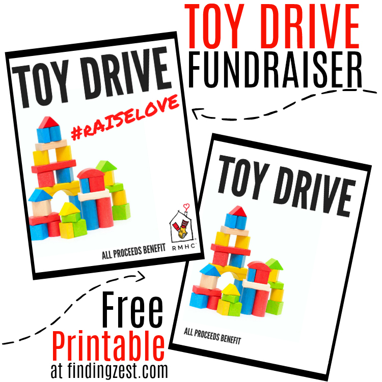 Toy Drive Fundraiser Flyer Free Printable: Download this free printable for a RMHC fundraiser or the blank version for any charity! Learn how easy it is to host a toy drive fundraiser for charities, perfect for teaching kids the importance of giving back!