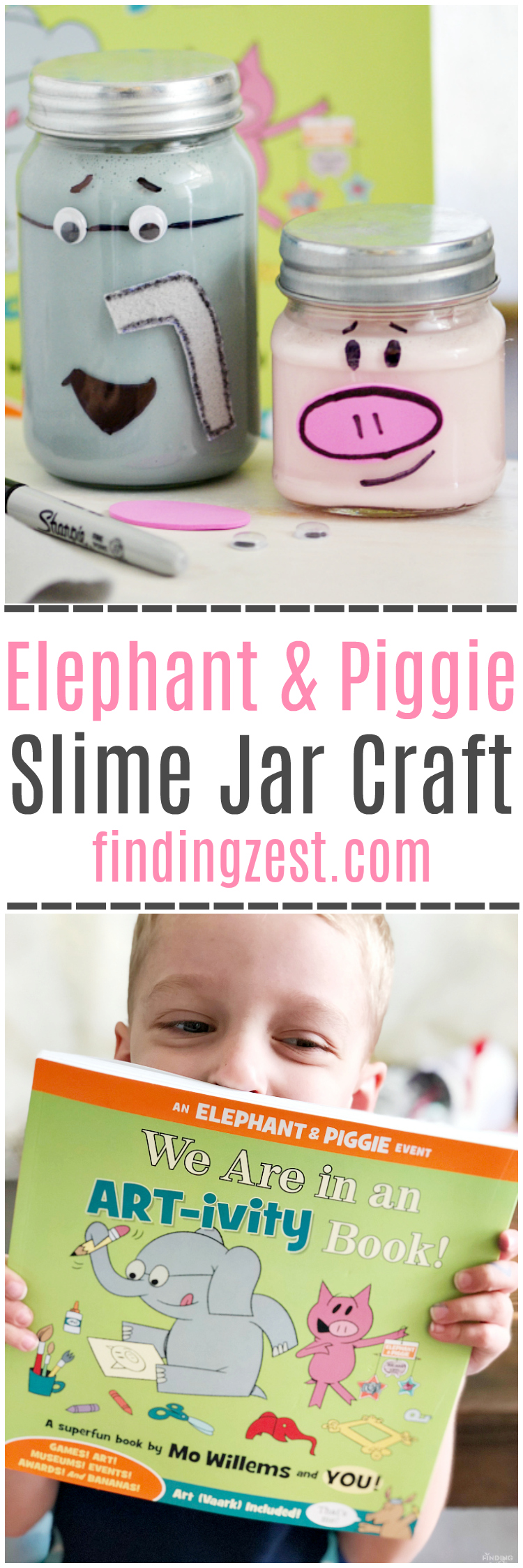 Check out the fun Elephant and Piggie Slime Jars craft we created, inspired by the Elephant and Piggie ART-ivity book by Mo Willems!