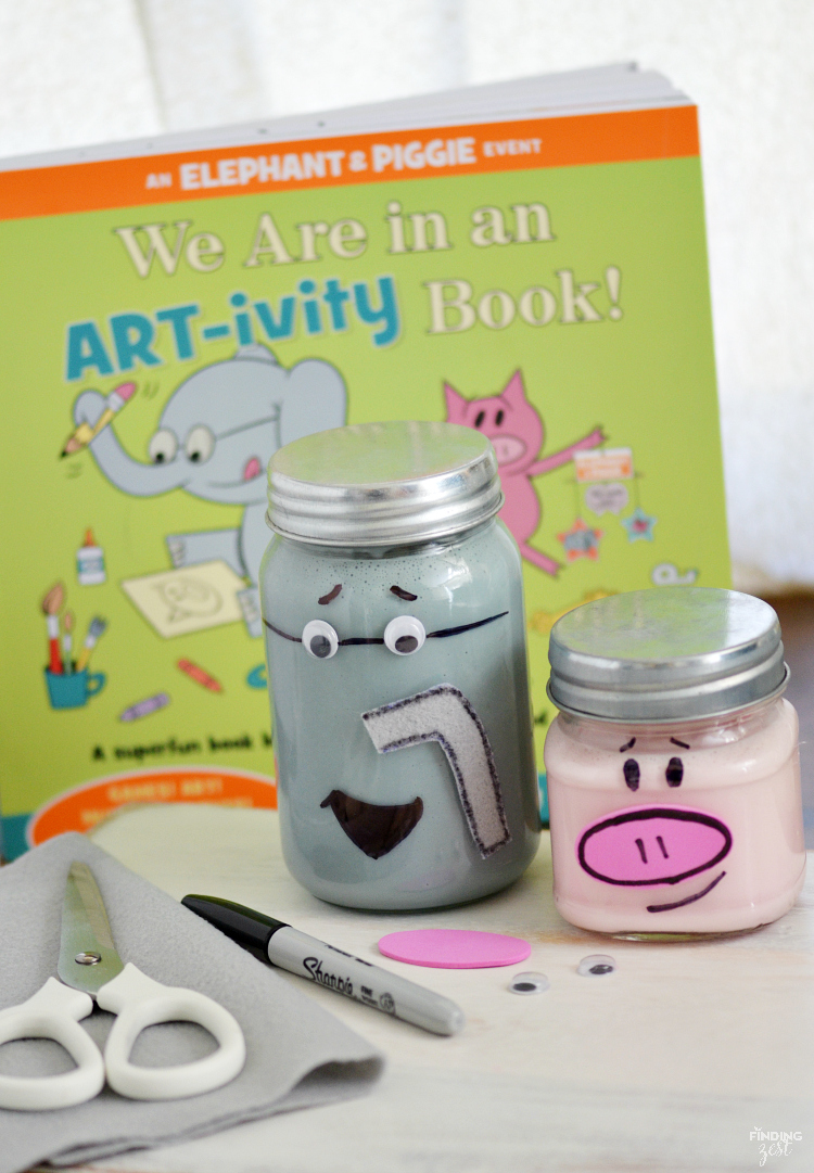 Check out the fun Elephant and Piggie Slime Jars craft we created, inspired by the Elephant & Piggie ART-ivity book by Mo Willems!