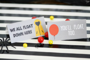 Let Pennywise help you celebrate Halloween or a birthday party with these It movie party favor bags and note card free printables. He promises we all float down here! Includes two versions, one with a red balloon and another with the iconic yellow raincoat of Georgie reminding, you'll float too! Perfect for any It movie fan.