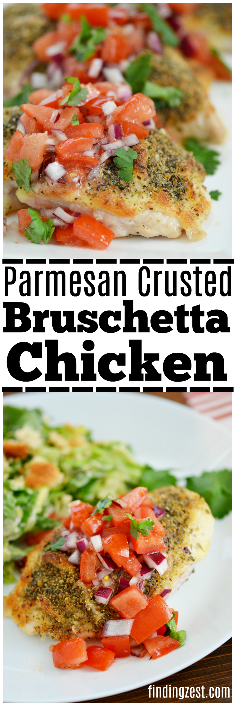 This delicious Parmesan Crusted Bruschetta Chicken recipe is a quick and easy weeknight dinner on your table in under 30 minutes! The whole family will love it, even kids!