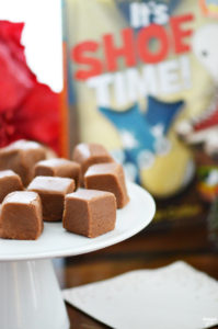 You must give this amazing chocolate cheese fudge recipe a try. We were inspired to make this unique combination recipe from It's Shoe Time by Bryan Collier, a book about unlikely pairings! You won't believe how soft and fudgy it is! (It is also fun to make guests try to guess your special ingredient.