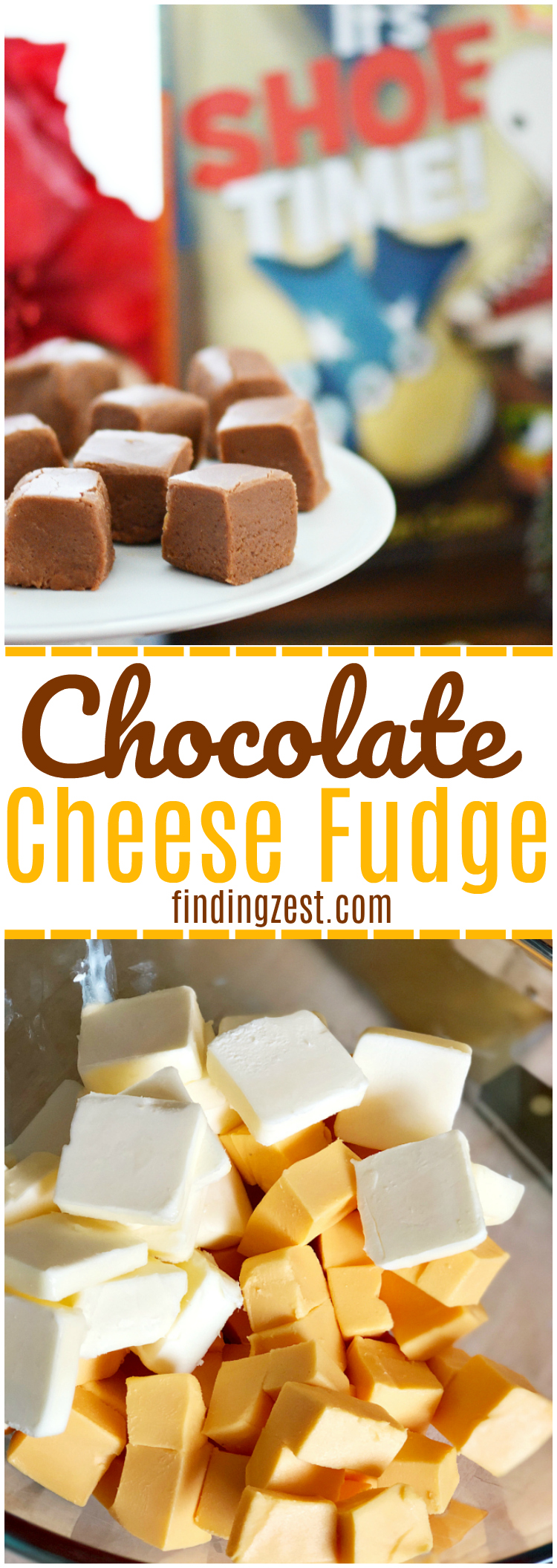 You must give this amazing chocolate cheese fudge recipe a try. We were inspired to make this unique combination recipe from It's Shoe Time! by Bryan Collier, a book about unlikely pairings! You won't believe how soft and fudgy it is! (It is also fun to make guests try to guess your special ingredient.