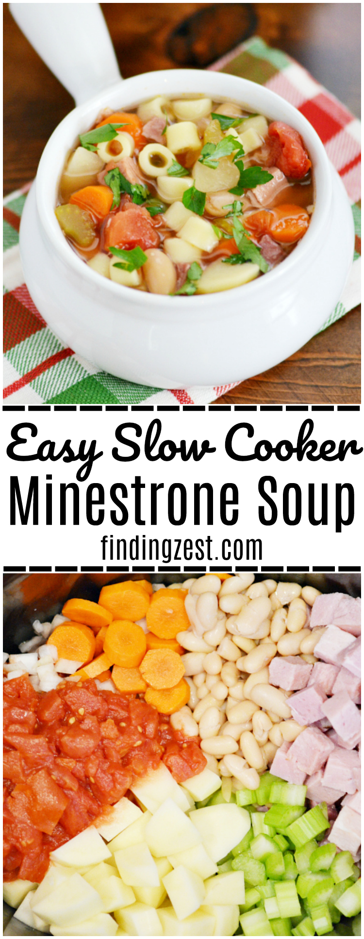 Enjoy this Easy Slow Cooker Minestrone Soup loaded with ham, vegetables and pasta any time you need a hearty meal to warm you up this winter!