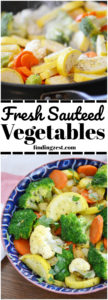 This fresh sauteed vegetables recipe is a quick and simple side dish! Pick your favorite mixed veggies and serve with chicken, beef or fish for an easy weeknight dinner everyone will love.